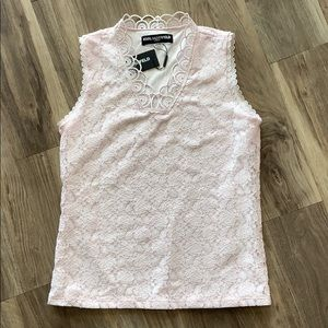 🌹NWT Karl Lagerfeld Light Pink Lace Tank Blouse